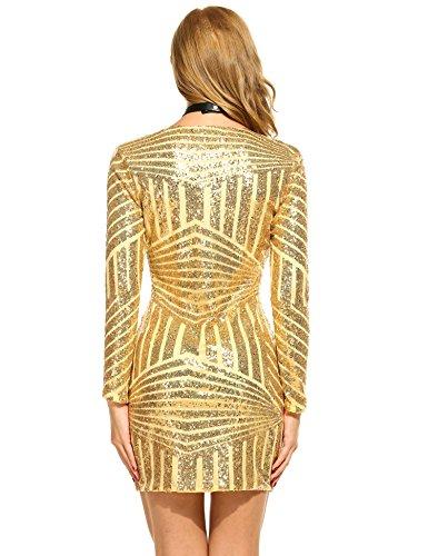 ACEVOG Damen Minikleid Bodyconkleid Abendkleid mit Pailletten verziert langen Ärmeln V-Ausschnitt Partykleid Gelbe