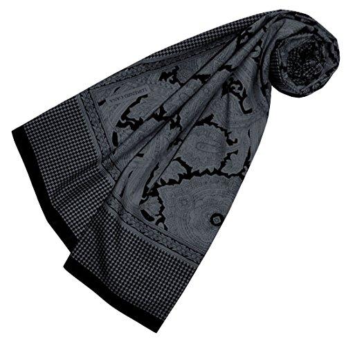 LORENZO CANA Quadratisches XL Damen Luxus Tuch Baumwolle kombiniert mit Seide 110 x 110 cm Naturfaser Marken Schaltuch Halstuch Hahnentritt Paisley 89116
