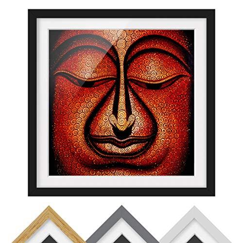 Bild mit Rahmen - Buddha in Tibet - Rahmenfarbe Schwarz, 70 x 70 cm
