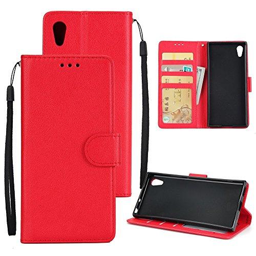 Classic Premiu PU Ledertasche, Horizontale Flip Stand Case Cover mit Cash & Card Slots & Lanyard & Soft TPU Interio Rückseite für Sony Xperia XA1 Ultra ( Color : Brown ) Red