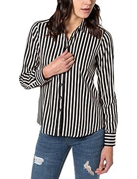 eterna Damen Bluse Comfort Fit Langarm Braun Bedruckt mit Hemd-Kragen