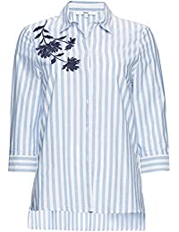 FIND Damen Hemd mit Blumenstickerei und Streifen