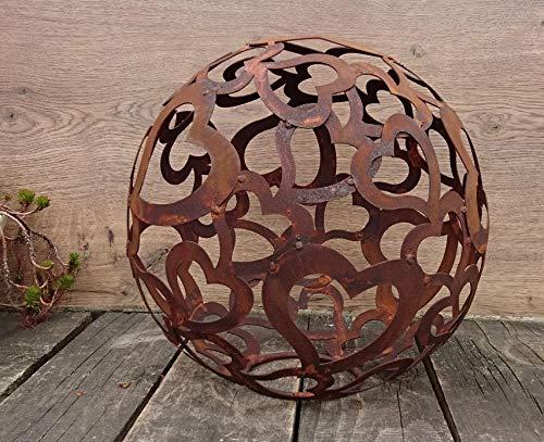 Terracotta Boule de Noël en métal avec Motif cœur en Rouille Rouille rouillé 30 cm