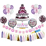 AMFIN Happy Birthday Foil Balloons with Matching Tassel / Happy Birthday Set / Birthday Decorations Items Combo (Cake Purple)