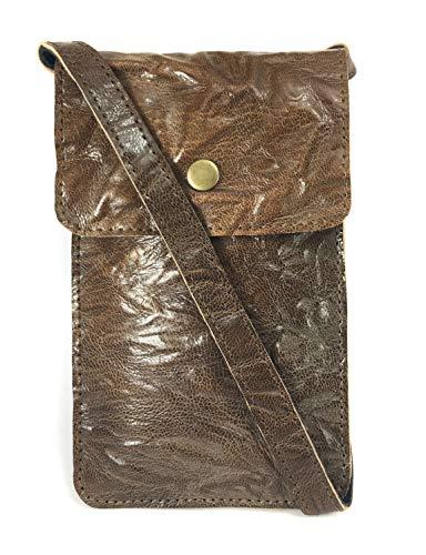 Chalk Factory Umhängetasche/Handtasche aus natürlichem Leder, (Glazed Brown), Small