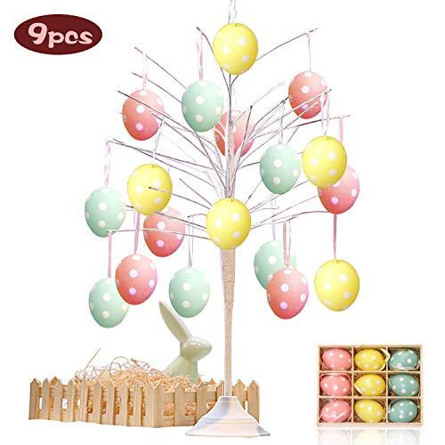 Specool [9pcs] appendere decorazioni di uova di pasqua, mini macaron ornamenti di uova pendenti decorativi in plastica dipinta per la decorazione e regali del partito di pasqua