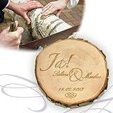 Baumscheibe mit Gravur zur Hochzeit Motiv JA
