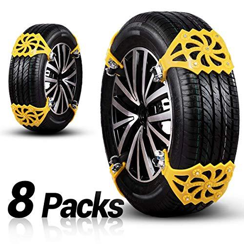 osaloe cadena de nieve universales, cadenas antideslizantes de 8 piezas para automóviles/camiones/suv con ancho de neumáticos entre 165 mm y 275 mm, amarillo (o1)