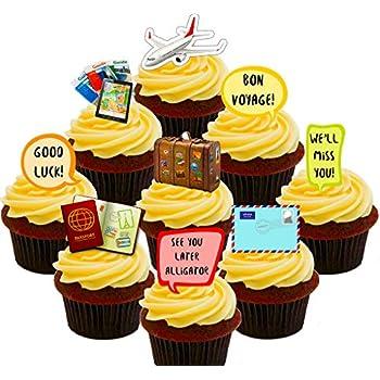 Bon Voyage - comestible pour cupcakes - StandUp comestible gâteau Décorations, Pack of 12