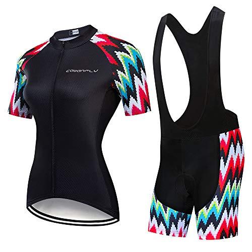 YDJGY Sommer 2019 Kurzarm Frauen Radfahren Uniform AnzüGe, Weibliche Bike Kleidung Kit Mtb Kleidung Fahrrad Jersey Gel Pad Bib Shorts Sets