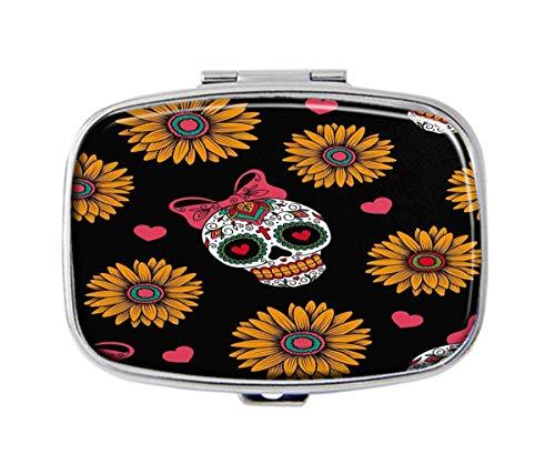 QHaihu Medikamenten-Tabletthalter, rechteckig, Motiv: mexikanische Totenköpfe, silberfarben