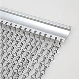 Voilamart Cortina de eslabones de aluminio, con mosca, para puerta, persiana, para evitar moscas, insectos, abejas, 90 x 215 cm