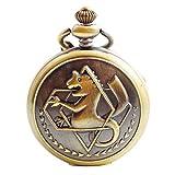 Boshiya vintage rame Fullmetal Alchemist dell' orologio da tasca al quarzo Fob catena Edward Elric anime Cosplay Gift con catena & box (Gronze)