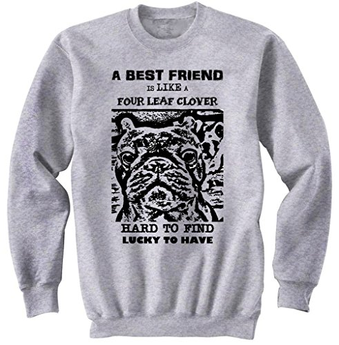 Teesquare1st Men's FRENCH BULLDOG BEST FRIEND PB 25 Grey Sweatshirt Size XXLarge