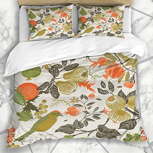 Soefipok Bettbezug-Sets Natur Orange Herbst Obst Garten Vogel Muster Art Birne Granatapfel Blume Floral Berry Ruhe Mikrofaser Bettwäsche mit 2 Pillow Shams -