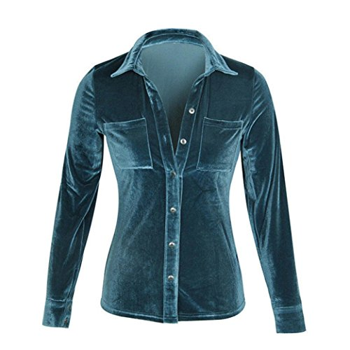 Fossen Mujer Terciopelo Blusa de Manga Larga Camisetas Oferta Blusas de Mujer Elegantes de Fiesta (L, Azul)