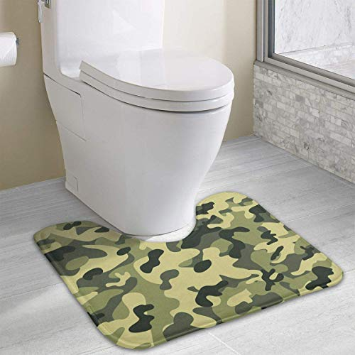 Vidmkeo Green Camo of Army Contour Bath Rug, U-Shaped Polyester Toilet Floor Mat Non Slip Bathroom Shower Carpet -