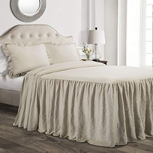 Lush Decor Ruffle Skirt 2 Piece Bedspread Set, Twin, Neutral