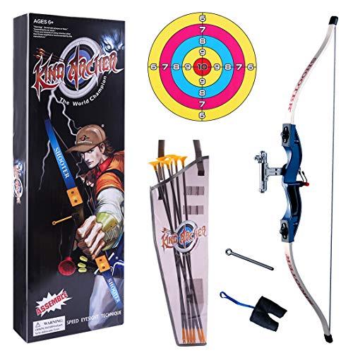 ZUJI Pfeil und Bogen Kinder Set Schießspiele mit Zielscheibe Schießen Spielzeug für ab 5 Jahre (Blau)