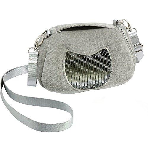 Inhaber Wärmer (ASOCEA Tragbar Pet Carrier ausgehendem Handtasche mit Verstellbarer Single Schultergurt Tasche Transportbox für Hamster Sugar Glider Eichhörnchen Kleine Tiere 11,9x 6,9cm)