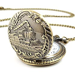 Kolylong Unisex Antique Case Vintage Brass Rib Chain Quartz Train pattern Pocket Watch