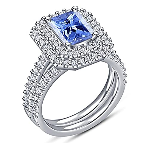925 Sterling silver Platinum Plated Women's Bridal Set Engagement Ring