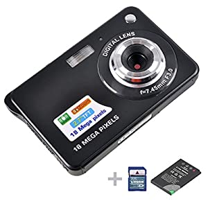 Digital Camera,emee 2.7 inch TFT LCD Screen Anti-shake 8x Digital Zoom HD 720P 18 Mega Pixels CMOS Sensor Compact Video Camcorder [ Include SD Card , Battery and UK Adaptor] (Black)