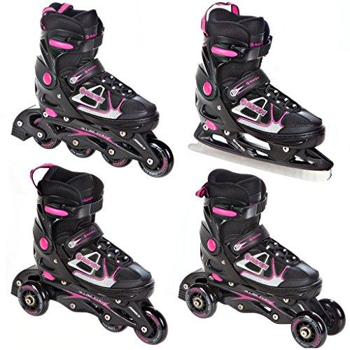 4in1 Inlineskates/Triskates/Rollschuhe/Schlittschuhe Raven Spirit Black/Pink verstellbar Größe: 37-40 (23,5cm-26cm)