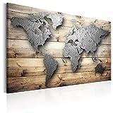 murando - Bilder 120x80 cm - Leinwandbilder - Fertig Aufgespannt - 1 Teilig - Wandbilder XXL - Kunstdrucke - Wandbild - Weltkarte Welt Karte Kontinente Holz k-C-0033-b-a