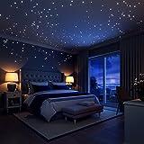 WOWOSS 253 Punti Adesivi Murali Glow In The Dark Stars Stelle Luminose per il Muro e il Soffitto Decorazioni Divertenti per la Camera da Letto con la Luna