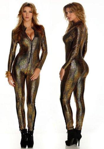 New-Ladies-oro-malla-cremallera-frontal-Mono-Catsuit-Mono-Bodysuit-Club-Wear-ropa-tamao-UK-10–12-EU-38–40
