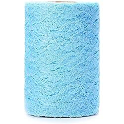 Rollo de tela de tul estilo vintage 15 cm x 22 m color azul