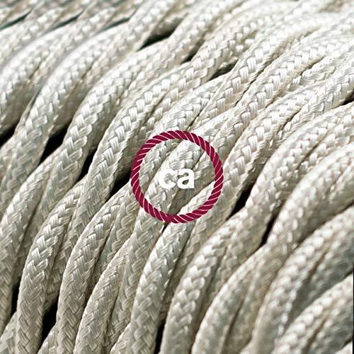 Fil Électrique Torsadé Gaine De Tissu De Couleur Effet Soie Tissu Uni Ivoire TM00 - 3 mètres, 2x0.75