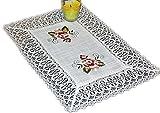 Tischdecke 35x50 cm Tischläufer Deckchen Leinenoptik Rose Altrosa Gestickt Makramee Spitze (35x50 cm rechteckig)