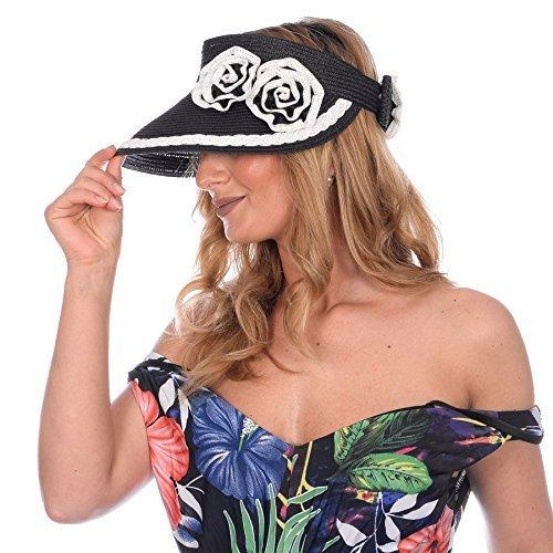 Boutique, Femmes Visière Chapeau Été Avec Ajustable Noeud Lanière fleur noir