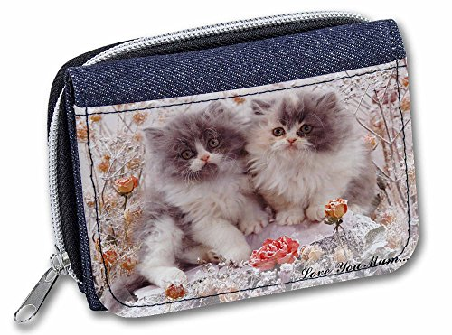 Persian Home Decor (Persian Kittens by Roses 'Love You Mum' Girls/Ladies Cute Denim Purse Wallet Gif)