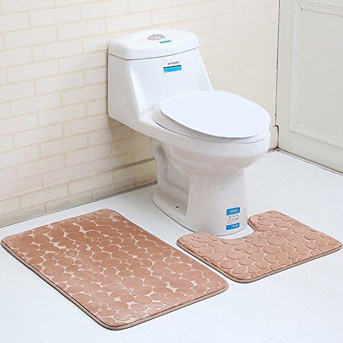 Sdkmah9 3/2Set Memory Foam Badvorleger-Set Rutschfeste Stand-WC Cover und Badematten Set WC BADTEPPICH Neu, Helles kaffebraun, 2 Pcs Set