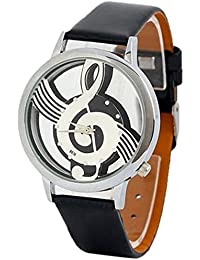 Sanwood Musical Note Hollow Faux Leather Strap Wrist Watch