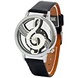 Sanwood Musical Note Hollow Faux Leather Strap Wrist Watch (Black)