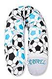 Amilian Stillkissen mit Füllung mit Namen bestickt MEGA WEICH für Baby Lagerungskissen Seitenschläferkissen zum Schlafen Baumwolle inkl. Bezug Größe 170cm (Fußball Blau/Hellgrau)