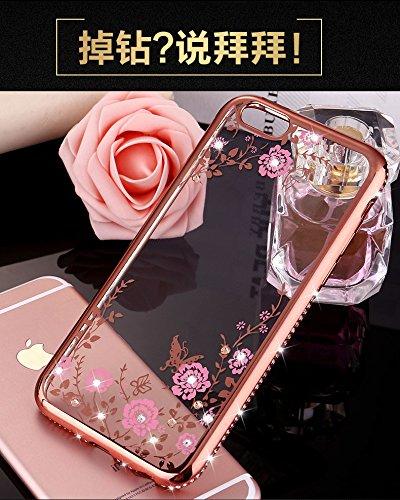 Coque iPhone 5/ iPhone 5S/ iPhone SE,Manyip Coque Protection complète en cerclage à 360 °,La nouvelle main glissante Coque pour iPhone 5/ iPhone 5S/ iPhone SE,Fleurs et diamants A