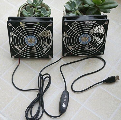 Zwei 12CM Ventilatoren Doppelkugellager Kühler Lüfter ein USB-Port und Governor für PS4 Host  Router  HIFI  Verstärker  Audio-Gerät  Xbox  TV-Box  Internet-Box  Computer Fall