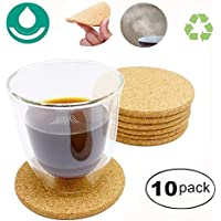 10 posavasos corcho,posavasos madera, absorbente, ecológico, resistente al calor, platillos