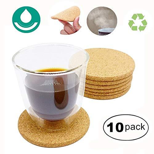 Runde Korkuntersetzer mit natürlichem Holz, saugfähig, umweltfreundlich, hitzebeständig, wiederverwendbar, für kalte Getränke, Weingläser, Tassen etc., 10 x 0,5 cm, 10 Stück