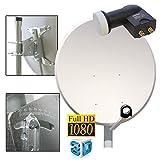 PremiumX 100cm Antenne PXA100 Alu Hellgrau + Sat Twin LNB 0,1dB PXT-SE FULL HD UHD 4K Digital für 2 Teilnehmer + 4x F-Stecker