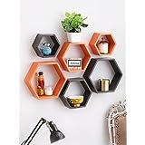 Artesia Decorative Wooden Brown & Orange Hexagon Shape Wall Shelf Set Of 6