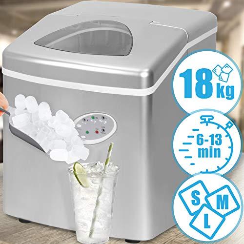 Eiswürfelmaschine | Silber, 3 Eiswürfel-Größen, Wassertank 3.2 L, 120 W, Produktionszeit 6 - 13 Minuten | Eiswürfelzubereiter, Ice Maker, Eismaschine
