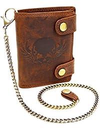 Wild Leder Portemonnaie mit Totenkopf und Hosenkette
