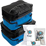 Packwürfel 4pcs Wert Set für Reisen - Plus 6pcs Gepäck Veranstalter Zip Beutel(2Black+2BlueTale)