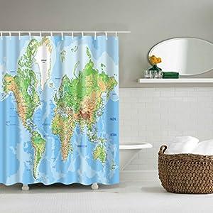 WTL Cortinas de baño Cortinas de ducha Mapa del mundo creativo Patrón Impermeable Rápido para secar Materiales respetuosos del medio ambiente Metal Hook Hanging Hole